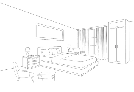 Bedroom furniture interior. Room line sketch drawing. Home Indoor design. Perspective of a interior space