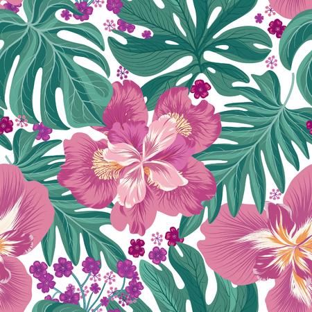 Nahtloses Muster der tropischen Blumen und der Palmblätter. Schöner Blumenhintergrund. Sommer Natur Tapete.