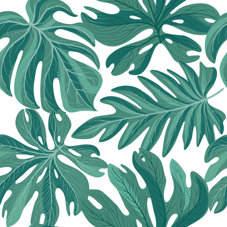 Tropcal palm leaves seamless pattern. Beautiful florl leaf background. Summer nature wallpaper.