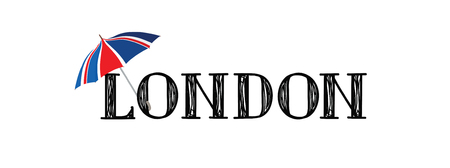 London brush style hand drawn lettering. Text with the uk flag umbrella. Illustration