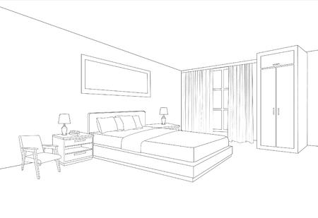 Bedroom furniture interior. Room line sketch drawing. Home Indoor design. Perspective of a interior space Vector Illustratie