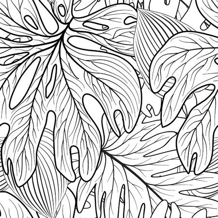 Floral seamless pattern. Leaves background. Tropical garden leaf line art backdrop