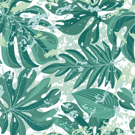 Tropcal palm leaves seamless pattern. Beautiful floral background. Summer nature wallpaper. Illustration
