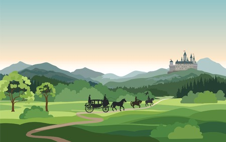 Castle, carriage, knight over Mountains Landscape. Medieval rural nature background. Hills skyline
