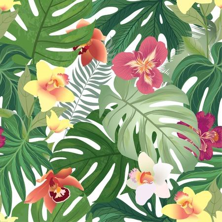 Nahtloses mit Blumenmuster. Garten-Blumenorchidee mit tropischen Palmblättern. Sommerurlaub Hintergrund.