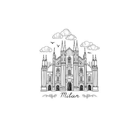 Milan landmark symbol. Travel Italy city icon. Hand drawn sketch. Duomo cathedral in Milan