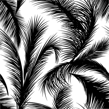 Palm leaves seamless pattern.Tropical floral background. Flourish garden leaf line art backdrop Stock Illustratie