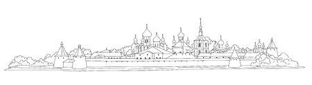 Russian famous landmark Solovki. Skyline view. Landscape of Solovki monastery. Travel Russia background. Hand drawn sketch illustration.