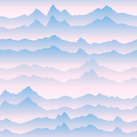 Abstract wavy mountain skyline background. Nature landscape sunrise seamless pattern. Dynamic motion wave texture