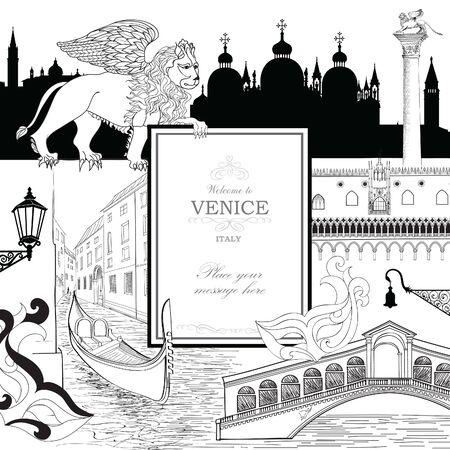 Sfondo della città di Venezia con punti di riferimento turistici, gondola. Carta da parati di viaggio Italia. Vettoriali