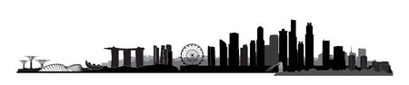 Singapore city, Singapore. Urban skyline with landmarks and skyscraper buildings silhouette. Travel Asia symbol.  Malaysia background