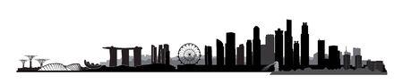 Ville de Singapour, Singapour. Horizon urbain avec des points de repère et la silhouette des bâtiments de gratte-ciel. Symbole de voyage Asie. Contexte de la Malaisie