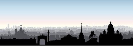 Horizonte de la ciudad de San Petersburgo, Rusia. Silueta de hito turístico. Lugar famoso ruso en vista panorámica de San Petersburgo. Antecedentes de viaje