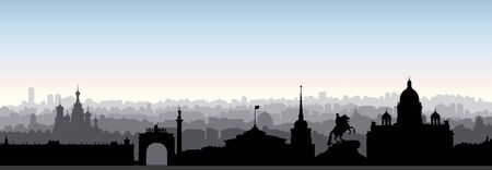 St. Petersburg city skyline, Russia. Tourist landmark silhouette. Russian famous place in Saint-Petersburg panoramic view. Travel background 免版税图像 - 125838671