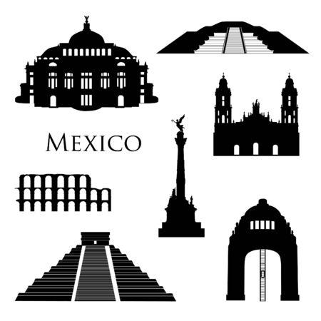 Insieme dell'icona di punti di riferimento di città del Messico. Sagome di edifici famosi. Segni di viaggio Brasile Brazil Vettoriali