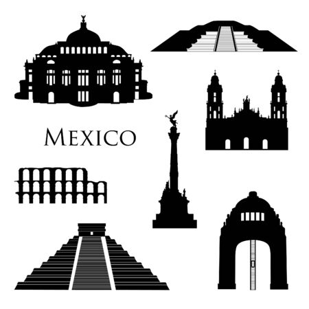 Mexico city landmarks icon set. Famous  buildings silhouettes. Travel Brazil signs