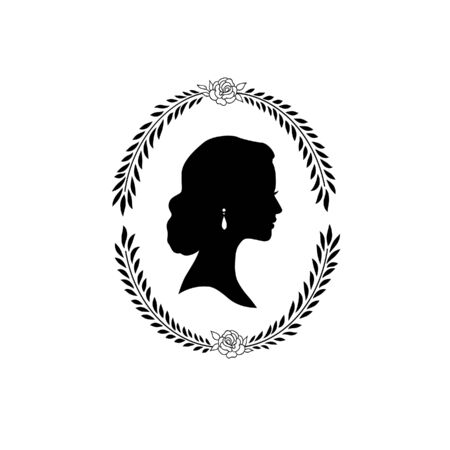 Woman face silhouette in oval floral frame. Lady profile with retro hairstyle Illustration