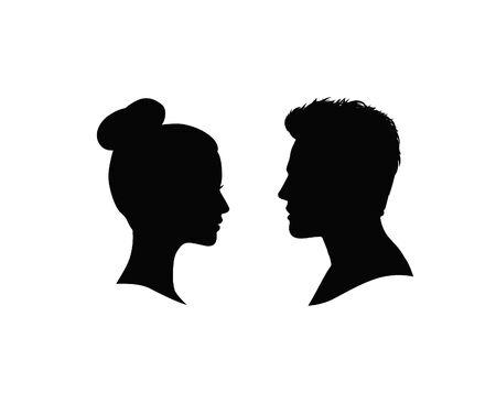 Le couple fait face à la silhouette. Profil homme et femme sur fond blanc.