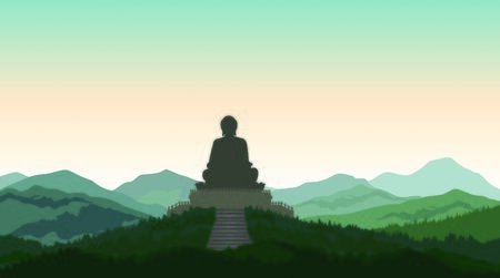 Buddha  in meditation statue on the top of the hill. Asian mountain landscape. Rural skyline Stockfoto - 130530415