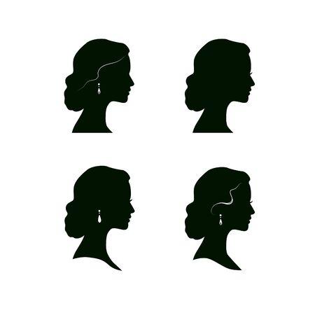 Woman face profile silhouette. Female hairstyle. Women head drawn icon set.  Lady portrait in retro style