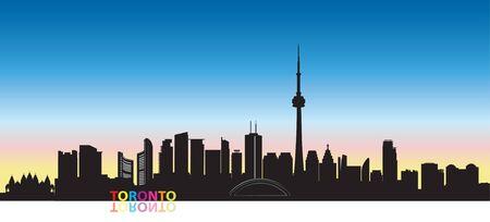 Canada city skyline. Toronto landmarks cityscape view. Travel  background. Tourism concept with modern buildings Çizim