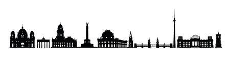 Orizzonte della città di Berlino. Sagoma di vari punti di riferimento di Berlino, Germania. Set di icone di luoghi famosi di viaggio in Germania Vettoriali