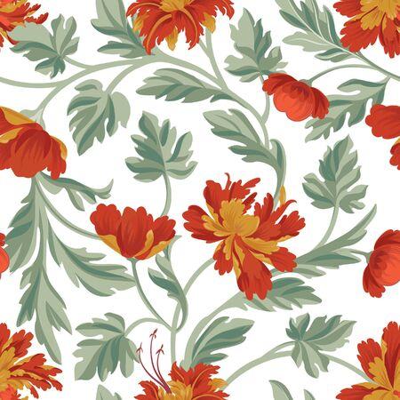 Floral pattern. Flower seamless background. Flourish ornamental garden wallpaper in retro oriental style