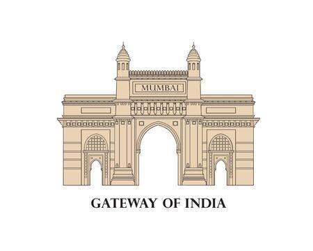 India, Mumbai city. Indian gateway famous landmark. Travel Asia icon. Indian city symbol. Line art Vetores