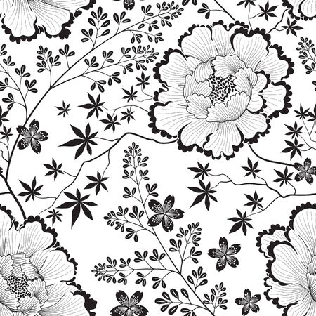 Floral seamless pattern. Flower background. Flourish ornamental tile wallpaper with flowers in far east oriental style. 向量圖像