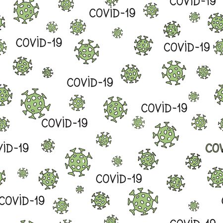 Virus epidemic seamless pattern. Backdrop with illustration of novel Coronavirus 2019-nCoV background. Ornamental COVID-19 medical design. Abstract bacterium tile texture. Ilustrace