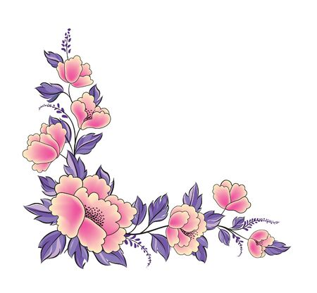 Floral background. Flower rose bouquet decorative garland border. Flourish spring floral greeting card frame design. Ornamental floral corner in different style. 向量圖像