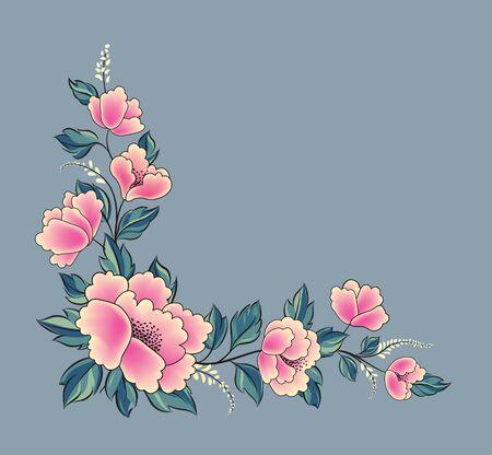 Floral background. Flower rose bouquet decorative garland border. Flourish spring floral greeting card frame design. Ornamental floral corner in different style. Illustration