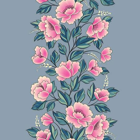 Floral background. Flower rose bouquet seamless decorative garland border. Flourish spring floral greeting card frame design