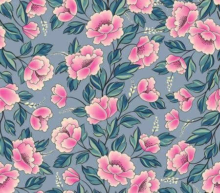 Floral background. Flower rose bouquet seamless decorative garland border. Flourish spring floral greeting card frame design Vektorgrafik