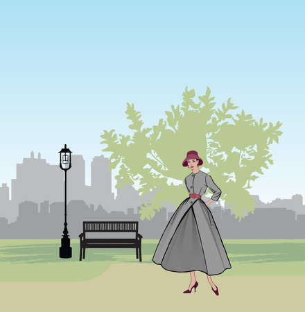 Retro fashion dressed woman (1950's 1960's style) in city park landscape. Stylish young lady in vintage clothes in spring city garden. Spring fashion silhouette from 60s. Park cityscape skyline. Urban life illustration.
