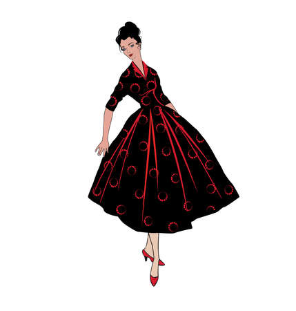 Stylish fashion dressed girls (1950s 1960s style): Retro fashion dress party. Summer clothes vintage woman fashion silhouette from 60s.