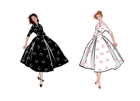 Stylish fashion dressed girls (1950's 1960's style): Retro fashion dress party. Summer clothes vintage woman fashion silhouette from 60s. Two women in summer holiday dress.