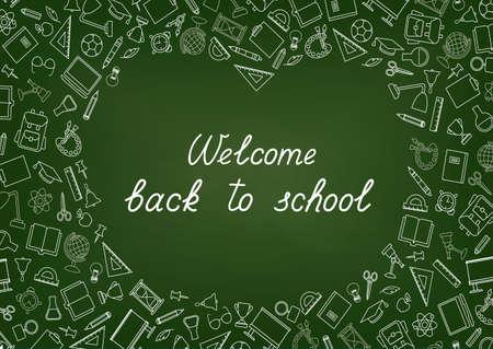 Back to School chalkboard wallpaper. Education drawn symbols pattern. School supplies icons doodle Classroom line art background.