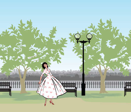 Retro fashion dressed woman (1950's 1960's style) in city park landscape. Stylish young lady in vintage clothes in summer city garden. Summer fashion silhouette from 60s. Park cityscape skyline. Urban life illustration. Illustration
