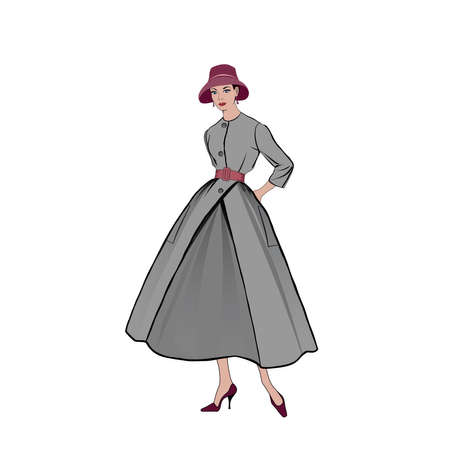 Retro fashion dressed woman (1950's 1960's style): Stylish young lady in vintage clothes. Autumn Fashion party silhouettes from 60s. Illustration
