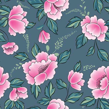 Floral seamless pattern. Flowers with leaves ornamental background. Flourish nature garden texture 向量圖像