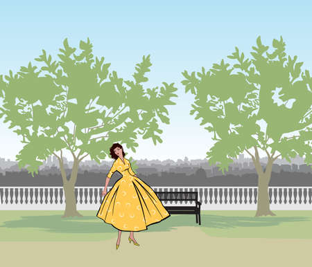 Retro fashion dressed woman (1950's 1960's style) in city park landscape. Stylish young lady in vintage clothes in summer city garden. Summer fashion silhouette from 60s. Park cityscape skyline. Urban life illustration. 向量圖像