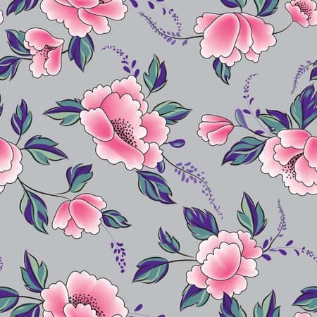 Floral seamless pattern. Flowers with leaves ornamental background. Flourish nature garden texture Illustration