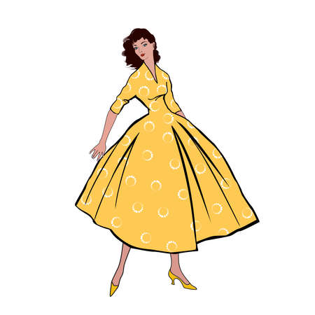 Stylish fashion dressed girls (1950's 1960's style): Retro fashion dress party. Summer clothes vintage woman fashion silhouette from 60s.
