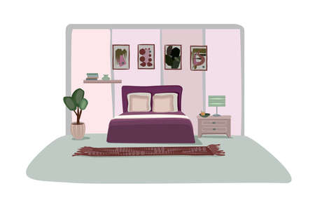 Bedroom design. Front view of modern sleeping room with furniture. Cozy home interior. Apartment stylish decoration