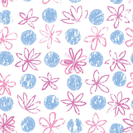 Seamless floral pattern with polka dot ornament and drawn flowers. Stylish drawn dotted floral backdrop. Abstract textured circle and flowers ornament. Isolated on white. 向量圖像
