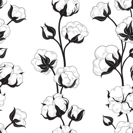 Seamless pattern with cotton bolls and branch. Cotton flowers and balls floral tile backdrop Illustration