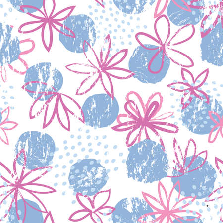 Abstract floral seamless pattern with geometric shapes. Polka dot ornamental background with flowers. Stylish drawn dotted backdrop.