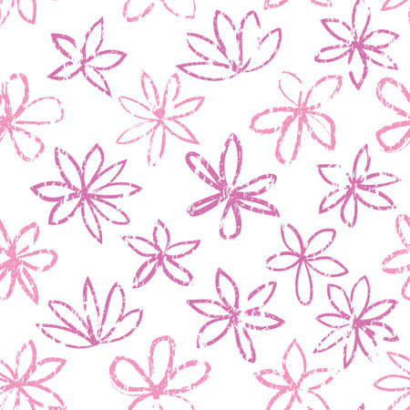 Seamless floral pattern with polka dot ornament. Stylish drawn dotted backdrop with flowers. Abstract textured circle and flowers ornament. Isolated on white. Illustration