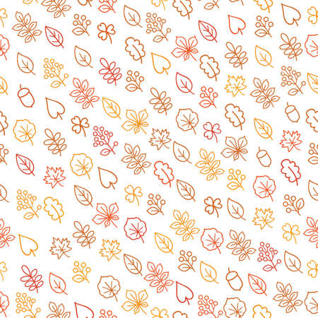 Autumn leaves seamless pattern. Leaf icon set in ornamental tile background. Fall nature backdrop in line art style. 向量圖像